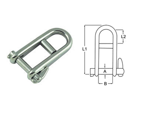 Stainless Steel Halyard Forged Solid Shackle 8mm, 5mm